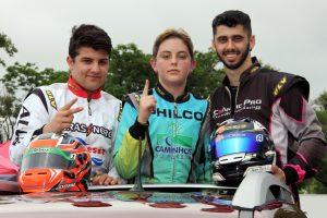 Na volta da vitória da categoria Júnior, Stefano Marins (vice-campeão), José Muggiati Neto (campeão) e Pedro Ebrahim (terceiro colocado)
