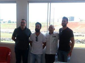 Chico Silvestre, Lucian Brandallize, Rubens Gatti e Alexandre Landim durante a reunião que definiu Pato Branco como sede do Paranaense
